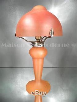 1920-30 Ch. Schneider Lampe Champignon En Fer Forgé Et Pte De Verre Art Déco