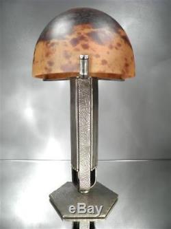 1920-30 Daum Nancy France Lampe En Fer Forgé Et Pte De Verre Art Déco