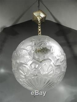 1920-30 P. D'avesn Lorrain Lustre En Bronze Et Verre Soufflé-moulé Art Déco