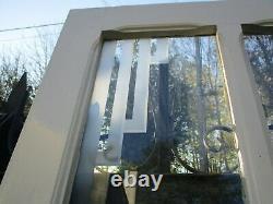 221 X 136,5 cm anciennes porte double à verres dépolis motif art déco