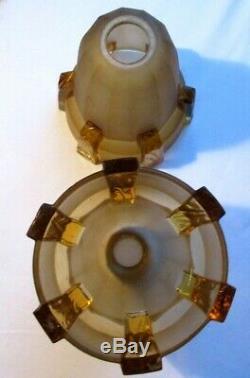2 lampes de tables Art Déco, pied marbre, tulipe verre ambré