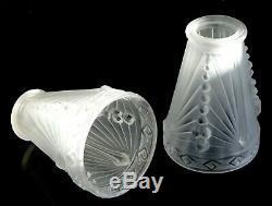 2 tulipes SCHNEIDER Art déco verre glass lamp 1930