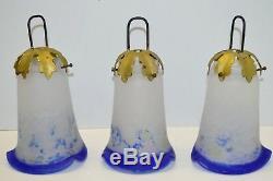 3 TULIPES PATE DE VERRE ART DECO ART NOUVEAU Marmoréen Bleu LUSTRE LAMPE 1930/40
