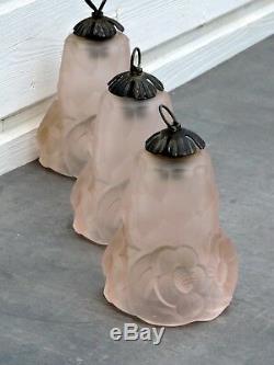 3 Tulipe Pte De Verre Rose, Degue Art Déco Modèle Compiegne