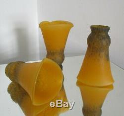 3 Tulipes Art NOUVEAU / Déco pâte de verre lustre lampe Delatte Era Muller Degué