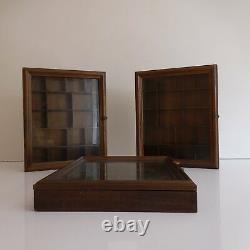 3 vitrines rustiques pour objets de collection fait main vintage XXe PN France