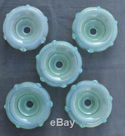5 Coupelles De Lustre Tulipes Verre Opalescent Reflets Vert D'eau Art Déco Ezan