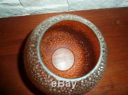ANCIEN GLOBE EN VERRE émaillé pour lampe a petrole ou autre