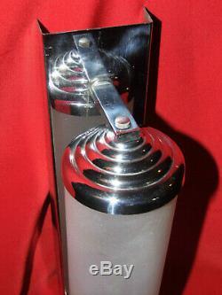 APPLIQUE ART DECO DANS LE GOÛT DE PERZEL METAL CHROME, luminaire TUBE EN VERRE