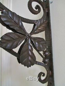 APPLIQUE lampe MULLER FRÈRES FER FORGÉ PÄTE DE VERRE ART déco / NOUVEAU 1900