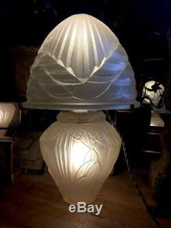 ART DECO LAMPE MODELE IRIS de ANDRÉ HUNEBELLE & Cogneville Obus Schneider