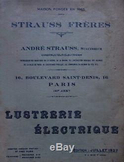 A. Strauss Suspension Art Déco Bronze Nickelé & Sabots En Verre Pressé 1930