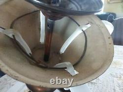 Ancien Lustre ART DECO Ezan Sabino en cuivre à 4 bras de lumière + glaçons