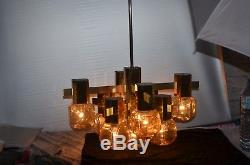 Ancien Lustre Art Deco Metal Dore 9 Globe Lampe 1 Applique Tulipe Verre