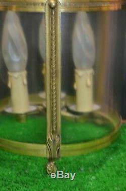 Ancien Lustre Bronze Suspension Plafonnier Verre Style Louis Philippe XV Tulipe