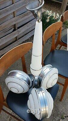 Ancien Lustre suspensions art déco, 50/60, vintage, verre blanc