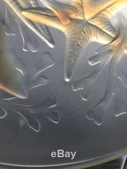 Ancien Magnifique Plat Art Déco Verre Opalescent Signé Verlux Dlg Lalique Verlys