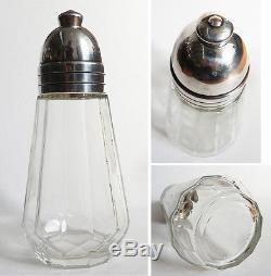 Ancien Sucrier saupoudreuse en verre et métal argenté CHRISTOFLE