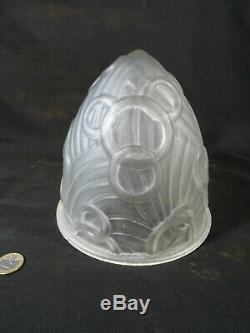 Ancien globe obus de lampe d'époque art déco verre dépoli