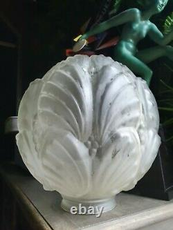 Ancien grand GLOBE LAMPE SUSPENSION ART DECO dlg de MULLER FRERES LUNEVILLE