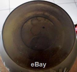 Ancien grand vase boule le verre français Charder Schneider art déco