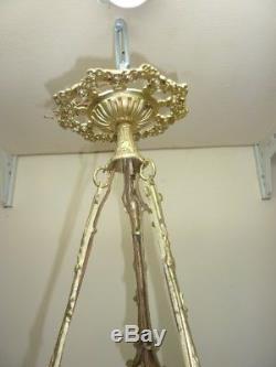Ancien lustre Art Déco vasque tulipes verre pressé monture bronze