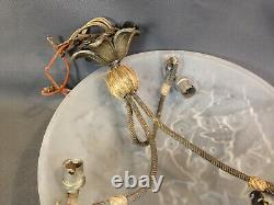Ancien lustre suspension en verre Art Déco MULLER Frères Lunéville design 20ème