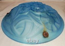Ancien plafonnier, vasque, Degué Art Déco, Bleus, Motifs Florale diamètre 35 cm