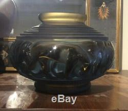 Ancien vase art déco en verre davesn décor panthère