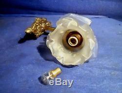 Ancienne Applique Bronze/laiton Tulipe Pte De Verre Forme De Rose Art Deco