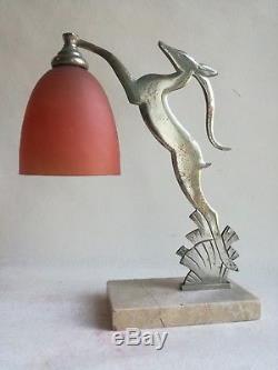 Ancienne Et Authentique Lampe Art Déco Avec Tulipe Pte De Verre Vers 1920 1930