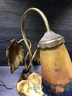 Ancienne Lampe Art Deco Art Nouveau Bronze Paye De Verre Degué
