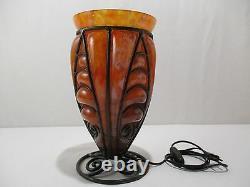Ancienne Lampe Pate De Verre Et Fer Forge Art Deco Ancient Lamp Alte Lampe