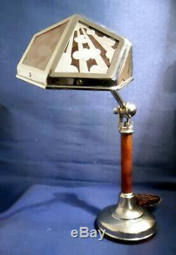 Ancienne Lampe Pirouett Rare Modèle A Verres Gravés Fut Bois, Socle Art Deco