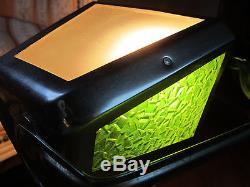 Ancienne Lampe Pirouette Art Deco Verre Granite Mosaique Vert