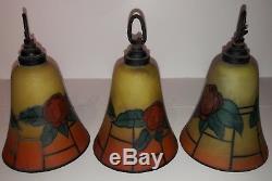 Ancienne Suspension Lustre Pte Verre Signé Décor Floral Art Déco Molten Glass