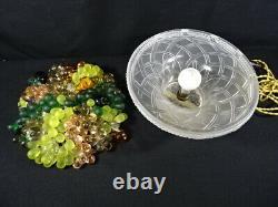 Ancienne lampe de table d'époque art déco coupe fruits murano verre pressé