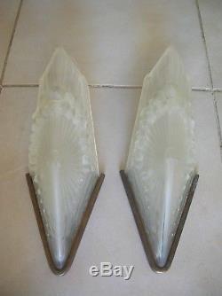 Ancienne paire applique luminaire Schneider France 406 verre et laiton Art Déco