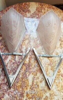 Ancienne paire d'appliques Laiton chromé ART DECO verre presser