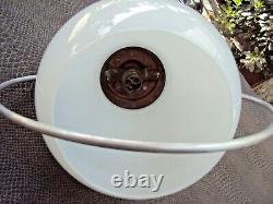 Ancienne suspension art-déco monte et baisse en métal chromé et verre déb 20 ème