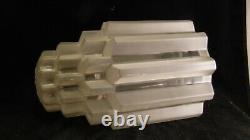 Ancienne tuilpe obus lampe art déco gratte ciel skyscraper building verre pressé