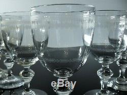 Anciennes 6 Verres A Vin Cristal Grave Aiguille Dégage Acide Baccarat Art Déco