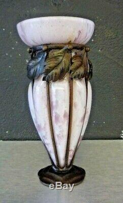 André DELATTE NANCY Vase art deco pate de verre fer forgé-schneider, daum, muller
