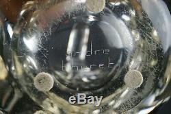 André THURET Vase Grande Coupe Panier Verre Épais Modelé Signée Art Déco daum