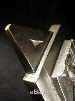 Applique Art Déco Moderniste En Bronze Argenté Et Tulipe En Verre Pressé 1930