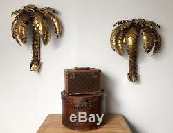 Applique En Forme De Palmier De Style Jansen Des Année 70 En Métal Doré 62cm