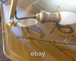 Art Déco Art Nouveau Suspension en verre moulé signée Degué