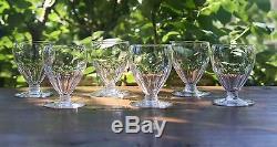 Art Déco Cristal taillé de Baccarat Champaubert 6 verres à vin 8,5 cm