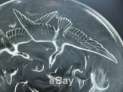 Art Déco Grand Coupe Verre Moule Poissons Japonais Oiseaux Etling Sabino Ezan