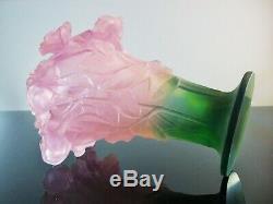 Art Déco / Grand Vase Pte De Verre 22cm Couleur Modelé Roses Daum Signe